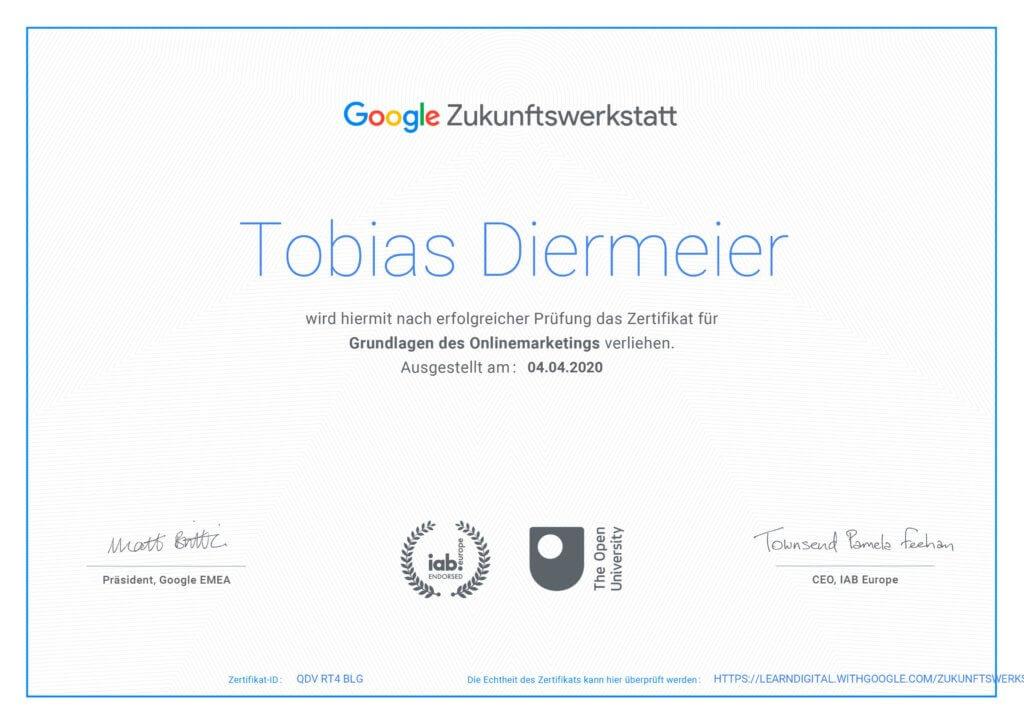 Google Zertifikat von Tobias Diermeier
